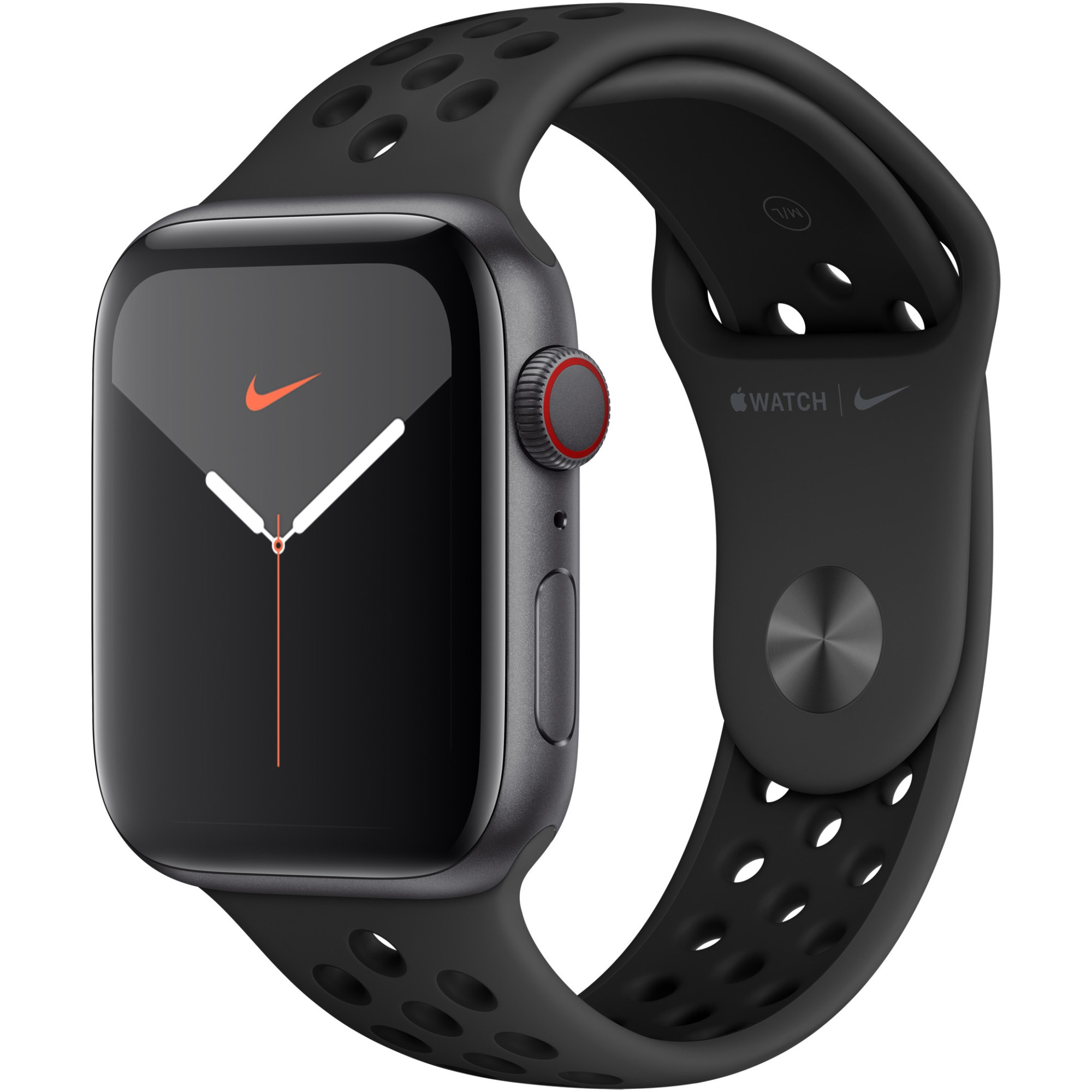 Fotografie Apple Watch Nike 5, GPS, Cellular, Carcasa Space Grey Aluminium 44mm, Anthracite/Black Nike Sport Band - S/M & M/L