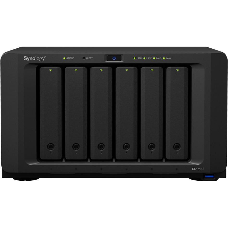 Fotografie Network Attached Storage Synology DiskStation DS1618+, Procesor Intel Atom C3538 Quad Core 2.1 GHz, 4 GB DDR4, 6-Bay, 4 x Gigabit LAN, 3 x USB 3.0, 2 x eSATA, PCIe Expansion