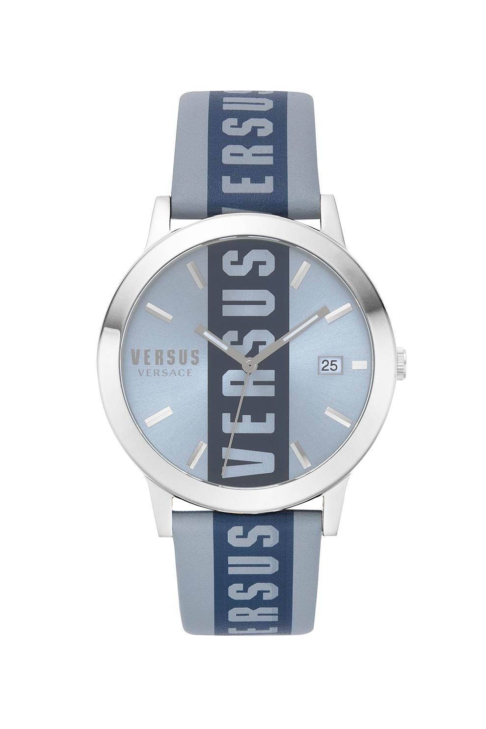 Fotografie VERSUS VERSACE, Ceas analog cu logo supradimensionat Versus Barbés, 44 mm, Albastru prafuit/Argintiu