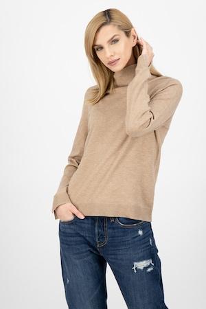 s.Oliver, Фино плетен пуловер с поло, Камел, 40