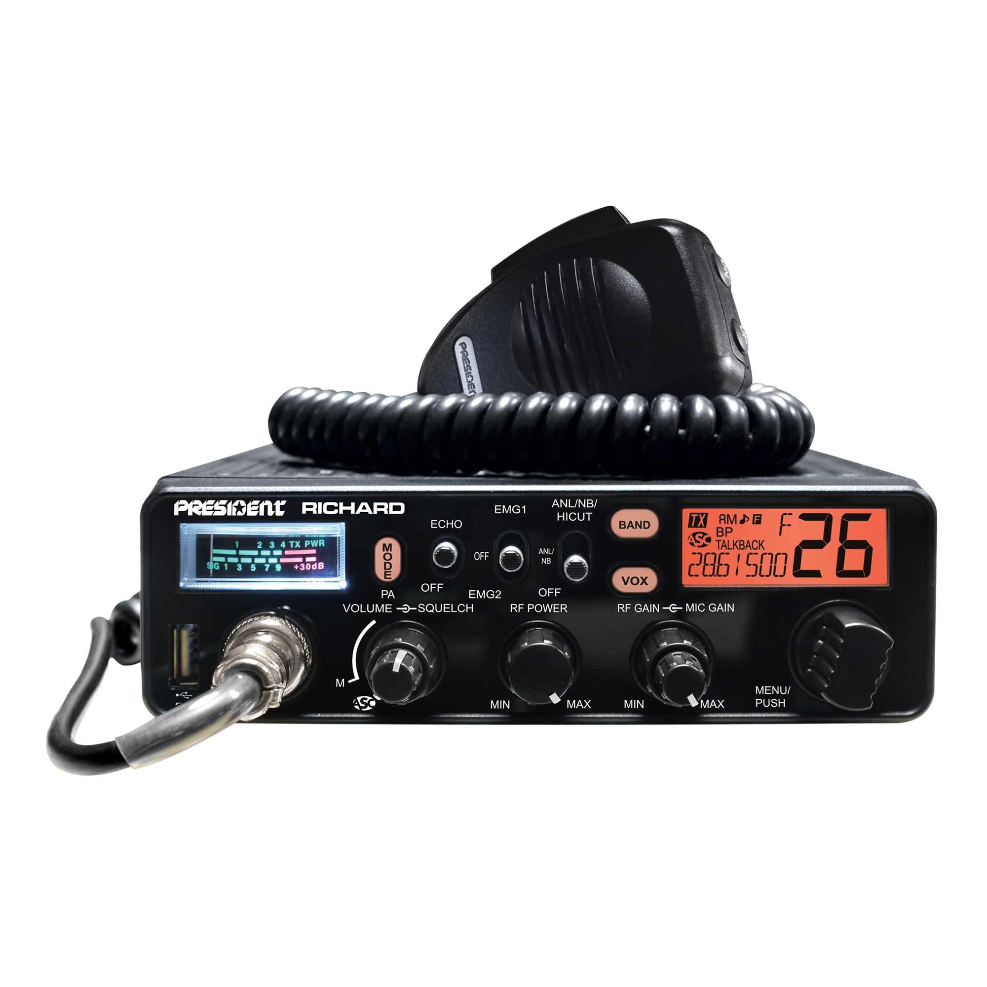 Fotografie Statie radio amatori President Richard ASC 10/12M, AM-FM, 12V, RF Gain, NB, ANL, Hi-Cut, Echo, Port USB
