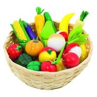 Fa játék zöldségek és gyümölcsök kosárban