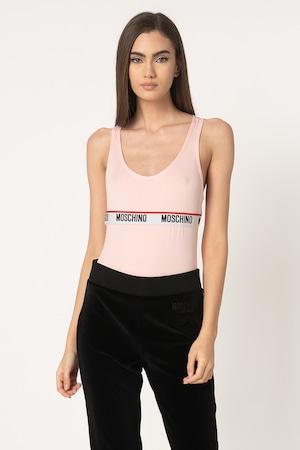 Moschino, Боди с лого на талията, Бледо розово