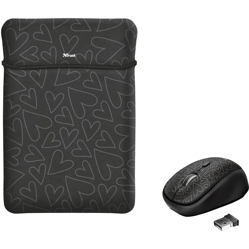 "Fotografie Husa laptop cu mouse wireless Trust Yvo, 15.6"", Black Hearts"