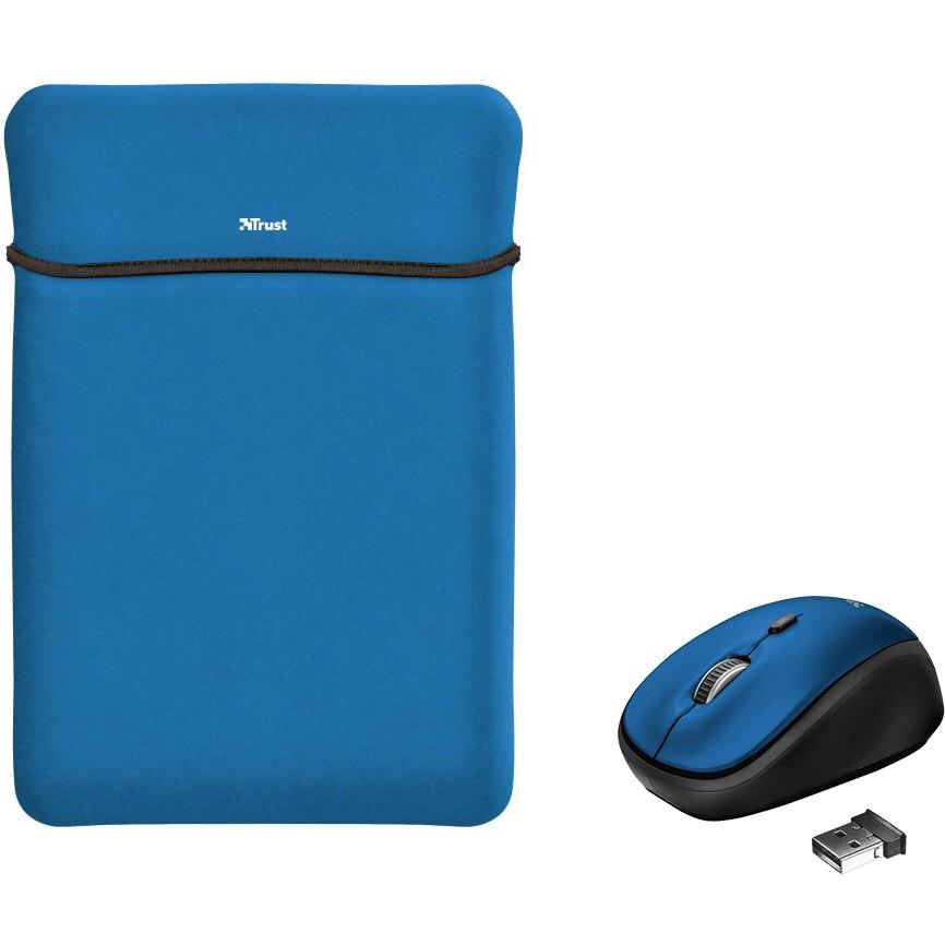 """Fotografie Husa laptop cu mouse wireless Trust Yvo, 15.6"""", Albastru"""