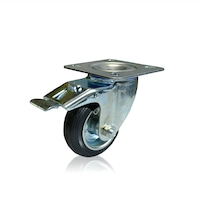 Колело Въртящо със Спирачка Индустриално PREMIUMFIX, 80мм гума, до 100кг , за Контейнери, Багажни и Товарни колички и др.