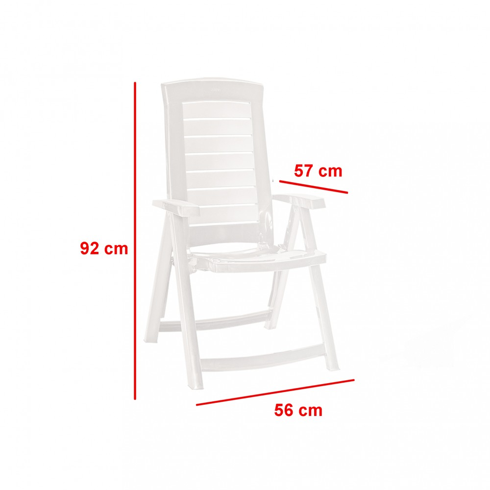 Aruba összecsukható műanyag kerti szék, fehér