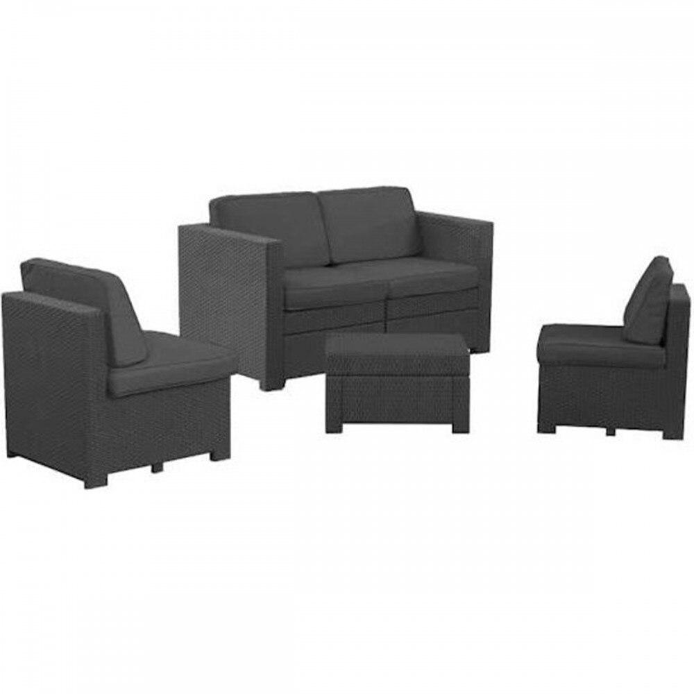 Modus kerti bútor szett 2 fotel, kétülős kanapé, kis asztal barna eMAG.hu