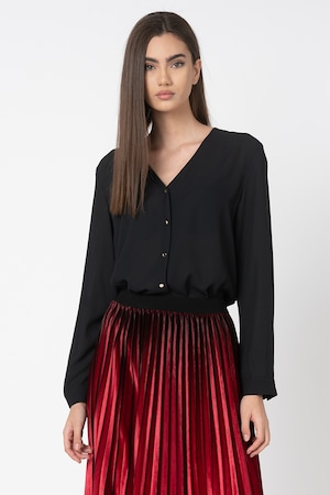 Esprit, Риза с плисиран гръб, Черен, 40