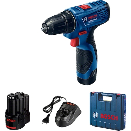 Bosch Professional GSR 120-Li Akkus fúró-csavarozó, 12 V, 1500 ford/perc, 14-30 Nm, 2 akkumulátor 2 Ah, töltő, szerszámkoffer