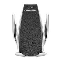 Intelligens autós telefontartó + Qi töltő, szellőzőrácsba illeszthető