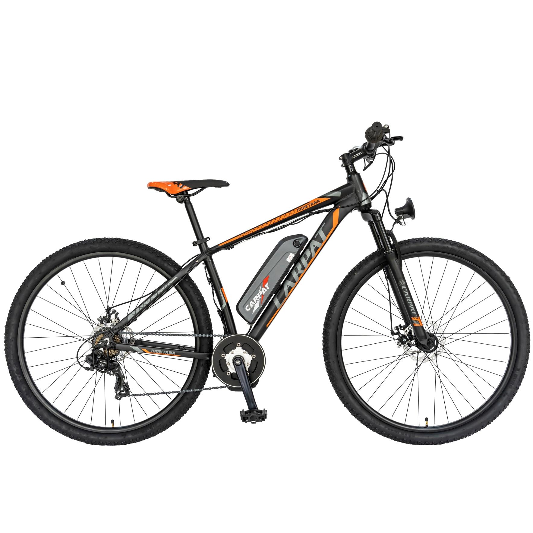 Fotografie Bicicleta MTB Electric Carpat C2999E, Negru/Portocaliu