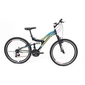 Bicicleta BRC118 , marime 17 inch , cadru otel , negru verde cu albastru
