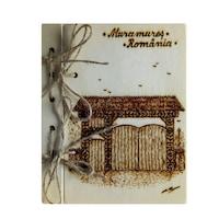 Suvenir agenda din lemn pirogravata, Artizanat Ilsaf, Poarta Maramureseana, 18.5x15x2.5 cm