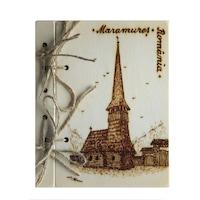Suvenir agenda din lemn pirogravata, Artizanat Ilsaf, Biserica Maramures, 18.5x15x2.5 cm