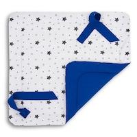 Pólya, Bellochi, 75x75 cm, csillagminta, pamut, fehér / kék