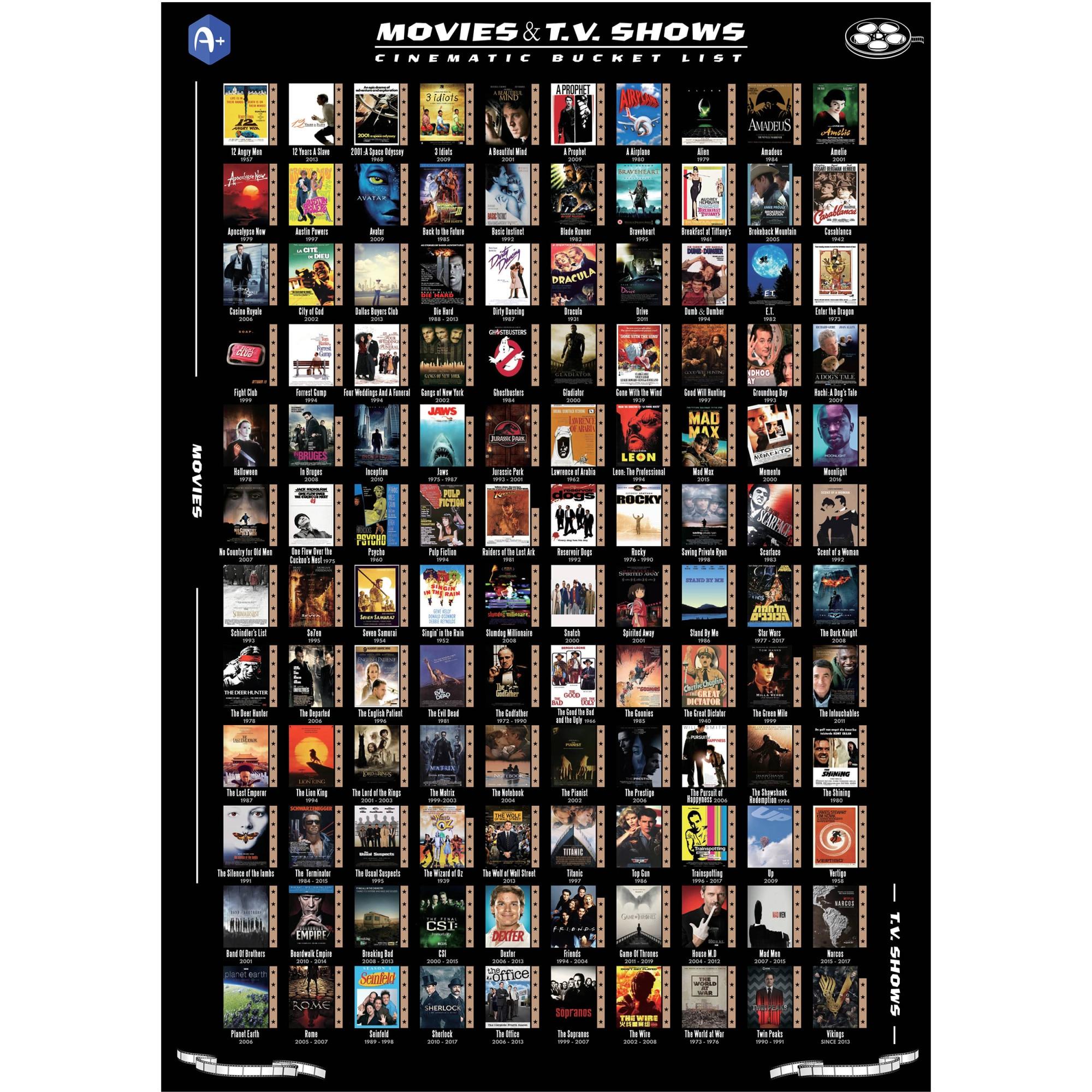 Fotografie Poster razuibil, Top 100 Filme de vazut intr-o viata, 61x43 cm, accesorii