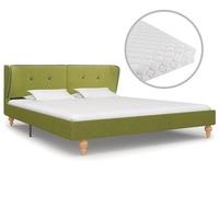 vidaXL zöld szövetágy 3 rétegű matraccal 160 x 200 cm