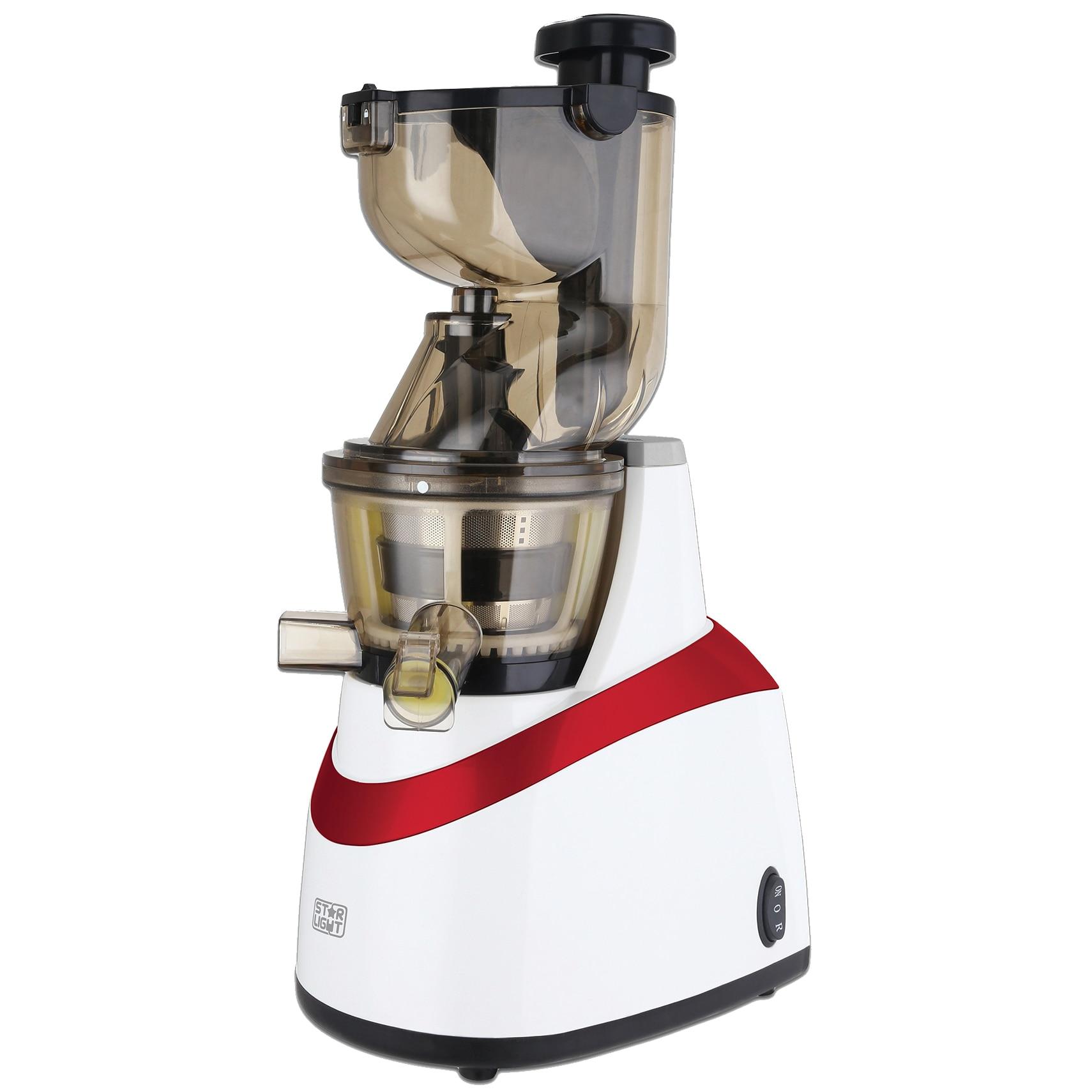 Fotografie Storcator de fructe si legume cu melc Star-Light SJB-240W, 240 W, 80 RPM, Recipient suc 1.0 l, Recipient pulpa 0.8 l, Functie Reverse, Tub alimentare 80 mm, Alb/Rosu