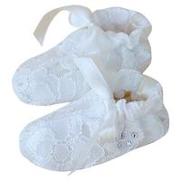 Lux csipke keresztelő mamusz, puhatalpú alkalmi kocsicipő - Diána (Ekrü, 18-as)