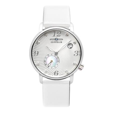 Ceas Argintiu/alb pentru femei Zeppelin Luna cu bratara din piele