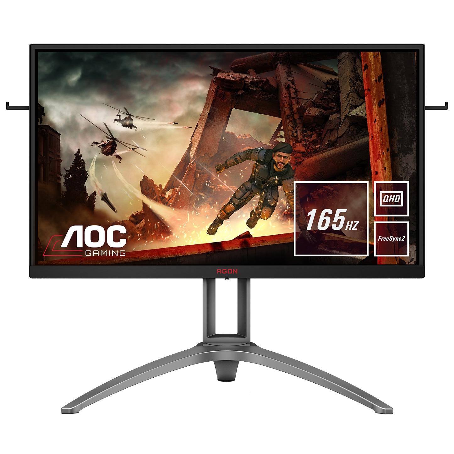 "Fotografie Monitor Gaming LED VA AOC AGON 3 27"", WQHD, DisplayPort, 165Hz, 1ms, FreeSync 2, HDR, Negru/Rosu, Pivot, AG273QX"