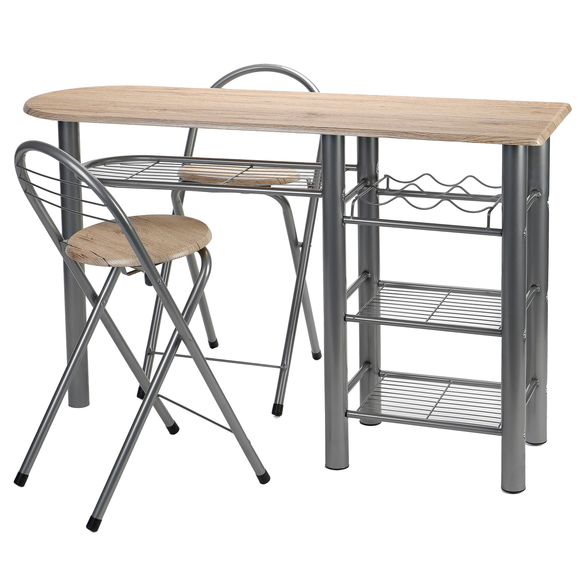 Fotografie Set bucatarie Kring, masa si 2 scaune pliante, cu spatii depozitare, metal, Bej