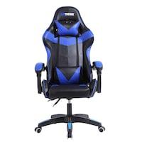 Zenga Extreme RX Sport Gamer Szék, Ökobőr, 2 kiegészítő támasztó párnával, Fekete -Kék