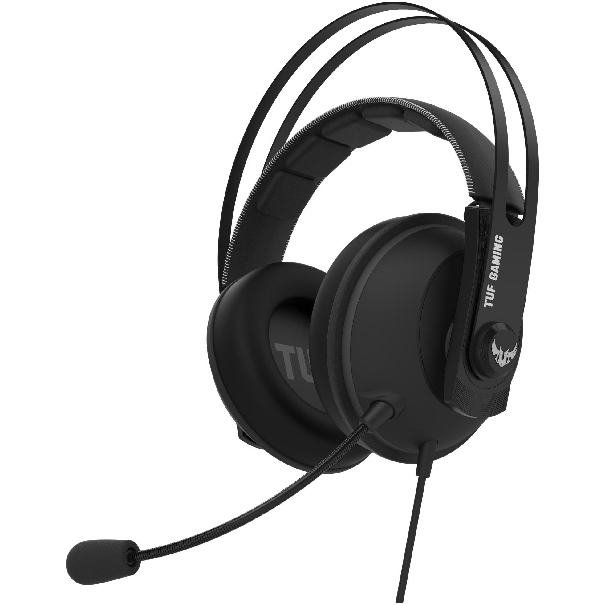 Fotografie Casti gaming ASUS TUF Gaming H7, sunet surround virtual 7.1, procesor audio USB hardware, difuzoare 53mm, banda de sustinere din otel inoxidabil, compatibile multiplatforma, 3.5mm/USB 2.0, Gun Metal