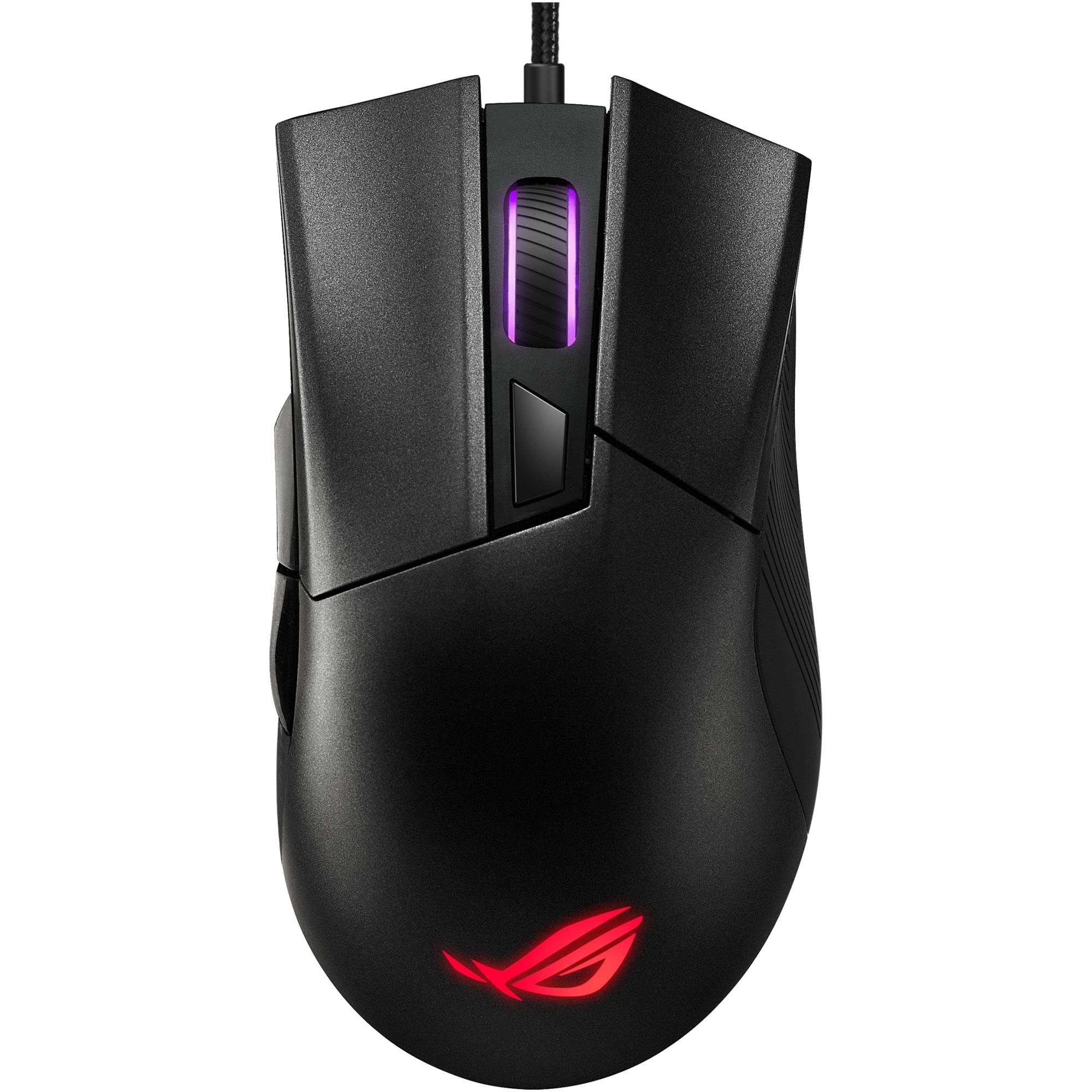 Fotografie Mouse gaming ASUS ROG Gladius II Core, RGB, switch-uri Omron, 6000 dpi, 6 butoane, cablu textil, iluminare Aura Sync, Negru
