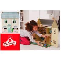 Carousel My Wooden Doll's House 2019 fa játék baba ház, natúr / zöld + rózsaszín babaház 50 x 31 x 59 cm