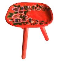 Scaun cu trei picioare, living/bucatarie/dormitor, lemn, pictat manual, 40x30, motiv floral, rosu
