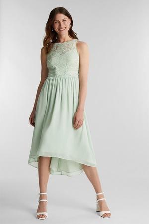 Esprit, Lágy esésű ruha csipkés rátétekkel, Mentazöld, 44