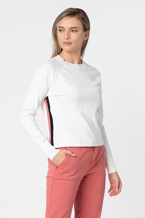 EDC by Esprit, Фино плетен пуловер с ръкави тип реглан, Бял / тъмносин / корал