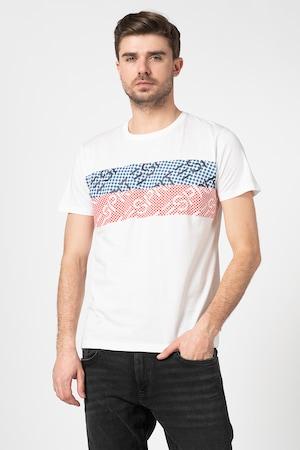 Esprit, Tricou din bumbac organic cu imprimeu1, Alb/Rosu/Albastru