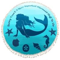 Sellős tengeri állatos kerek törölköző