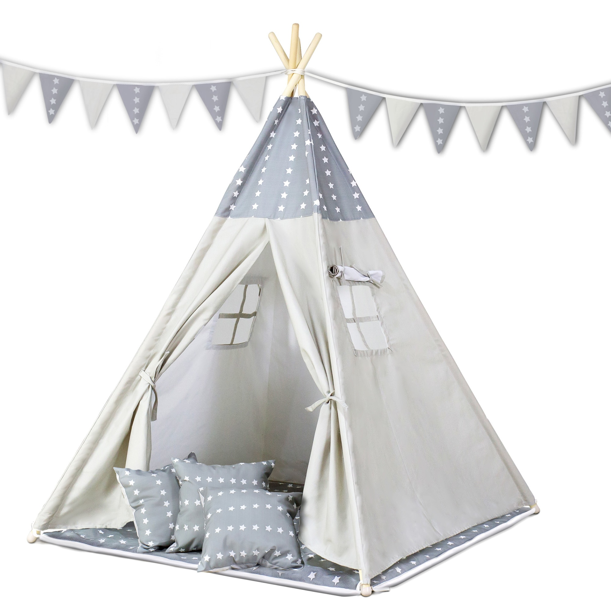 Ricokids, TIPI namiot dla dzieci WIGWAM TEEPEE z poduszkami gwiazdki +girlanda