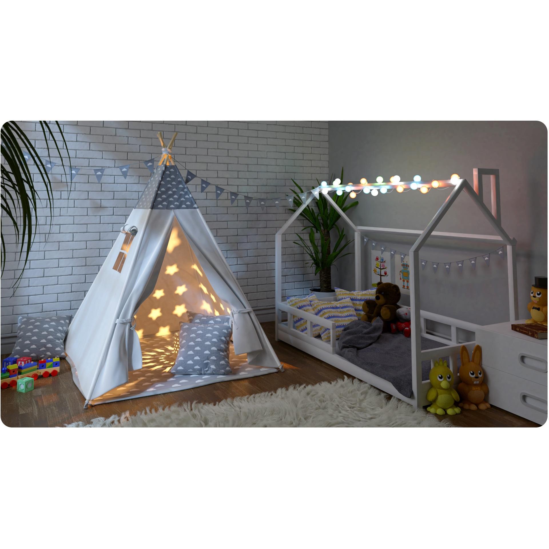 Ricokids, TIPI namiot dla dzieci WIGWAM TEEPEE z poduszkami chmurki +girlanda