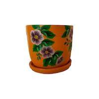 Ghiveci flori, gradina/foisor/balcon, ceramica, accesorii gradina/ornament, 17 x 15, portocaliu