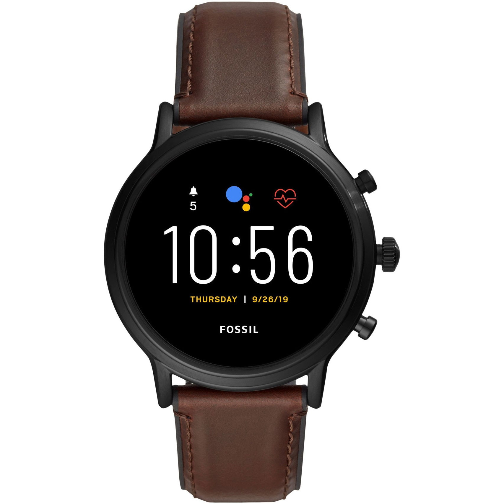 Fotografie Ceas Smartwatch Fossil The Carlyle HR, Black/Brown Leather