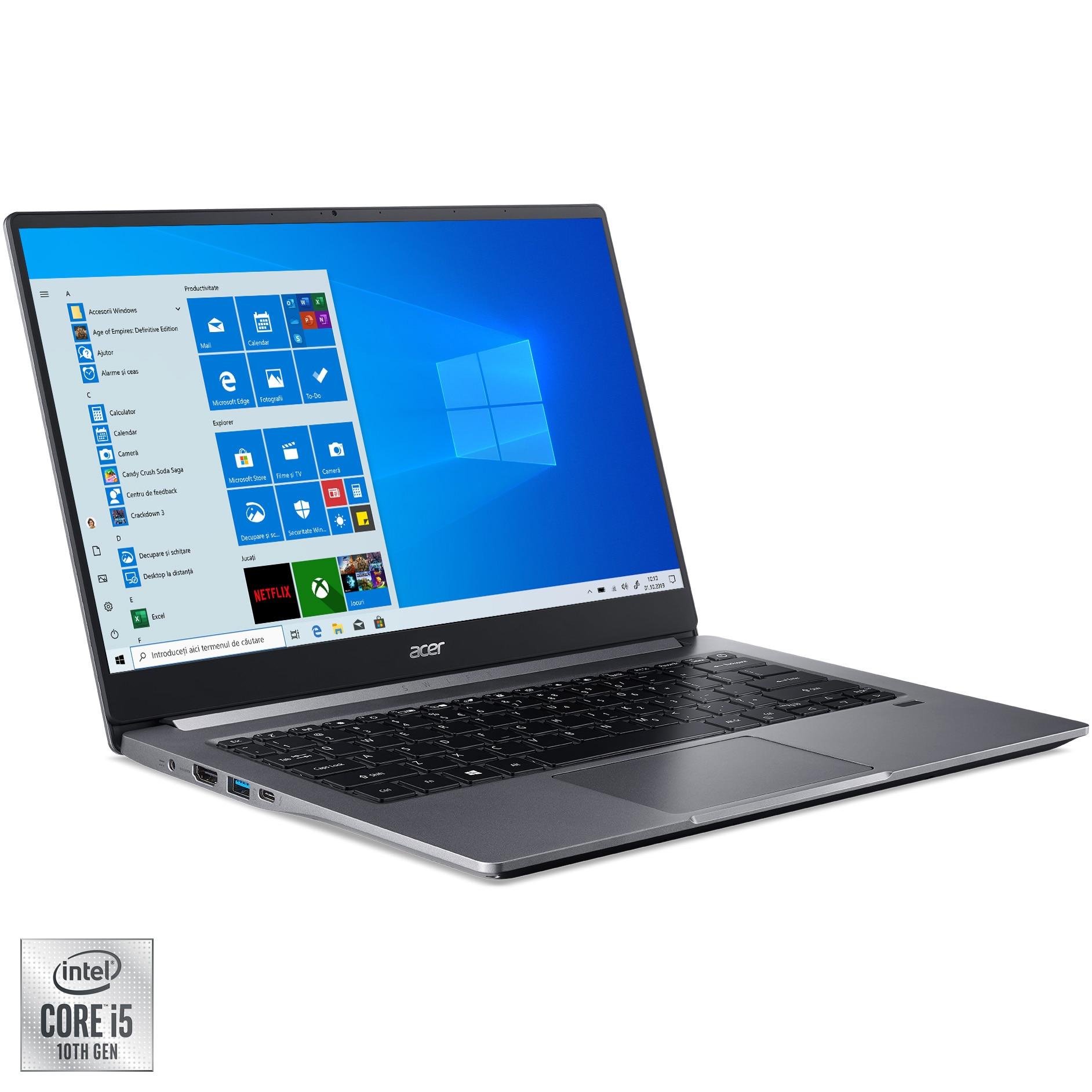 "Fotografie Laptop ultraportabil Acer Swift 3 SF314-57-516Z cu procesor Intel® Core™ i5-1035G1 pana la 3.60 GHz Ice Lake, 14"", Full HD, 8GB, 512GB SSD, Intel UHD Graphics, Windows 10 Home, Steel Gray"