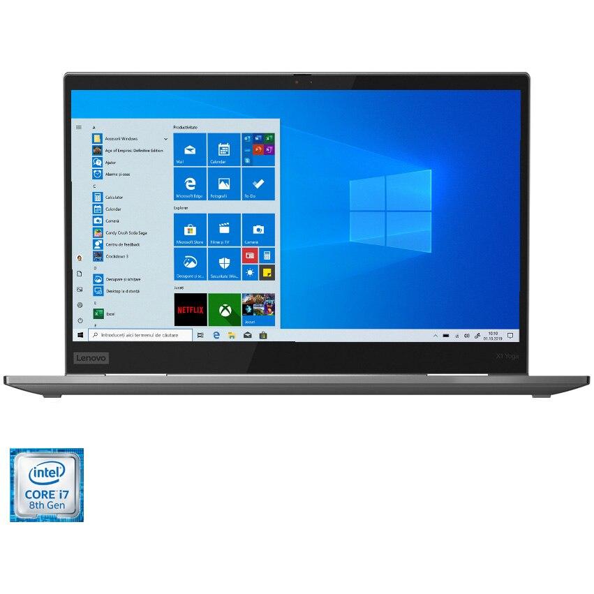 "Fotografie Laptop ultraportabil Lenovo ThinkPad X1 Yoga cu procesor Intel® Core™ i7-8565U pana la 4.60 GHz Whiskey Lake, 14"", UHD, HDR 400, IPS, 16GB, 512GB SSD, Intel UHD Graphics 620, Windows 10 Pro, Grey"