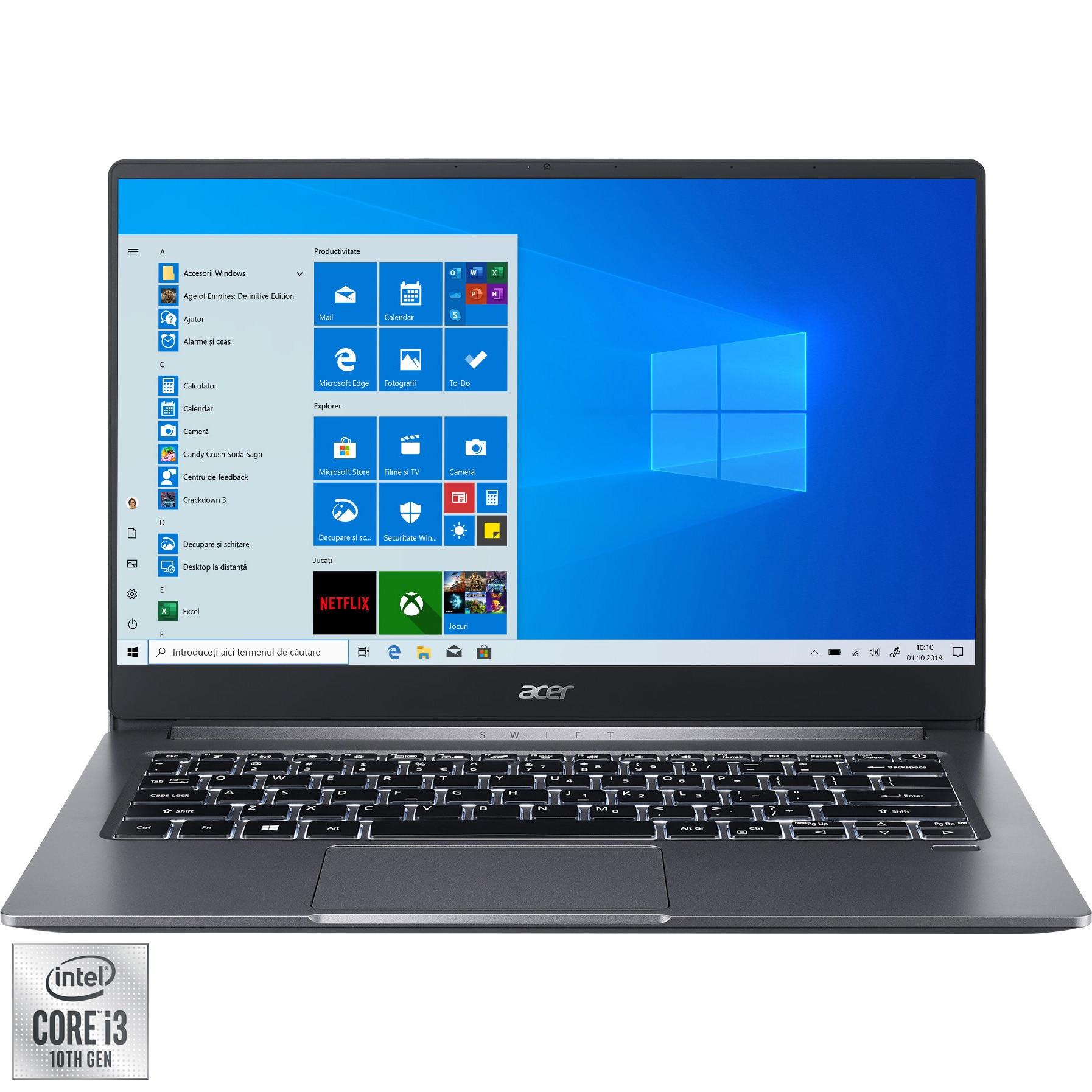 "Fotografie Laptop ultraportabil Acer Swift 3 SF314-57-34C8 cu procesor Intel® Core™ i3-1005G1 pana la 3.40 GHz, 14"", Full HD, IPS, 8GB, 512GB SSD, Intel UHD Graphics, Windows 10 Home, Steel Gray"