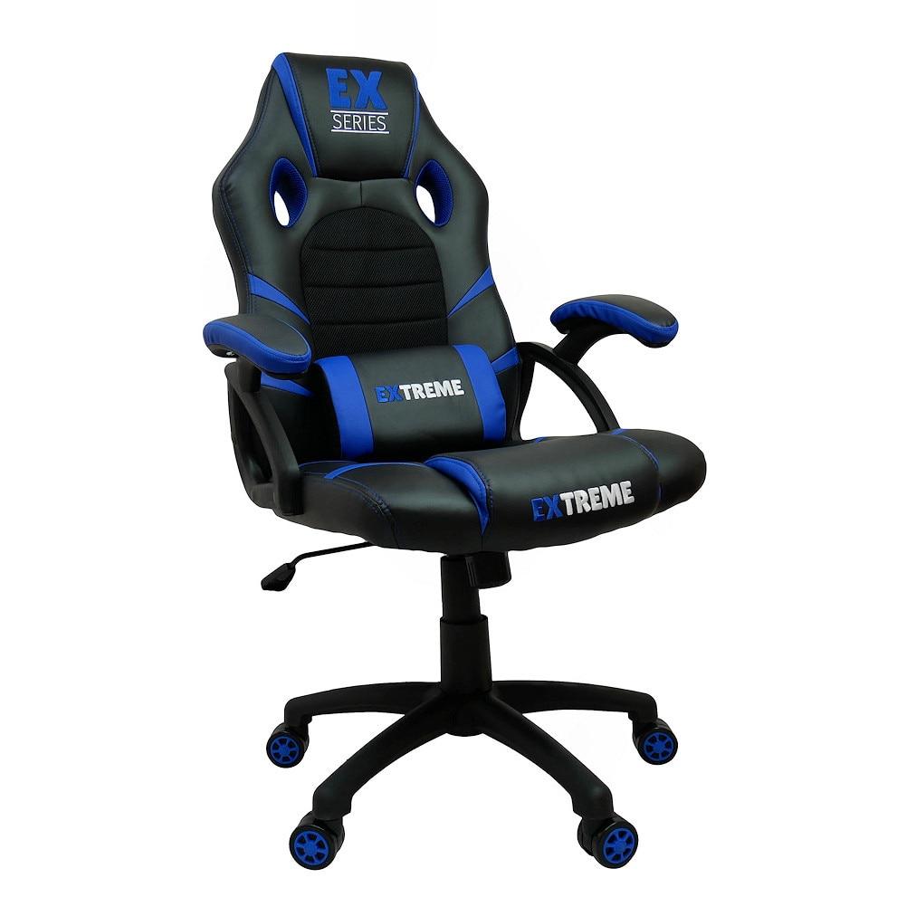 Zenga Gamer szék Ex Series Blue, szintetikus bőr, Fekete kék eMAG.hu