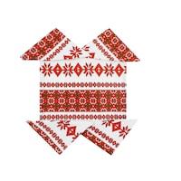 Fata de masa bumbac, 150x210 cm, cu 4 servetele 45x45 cm, model traditional, culoare alb/rosu