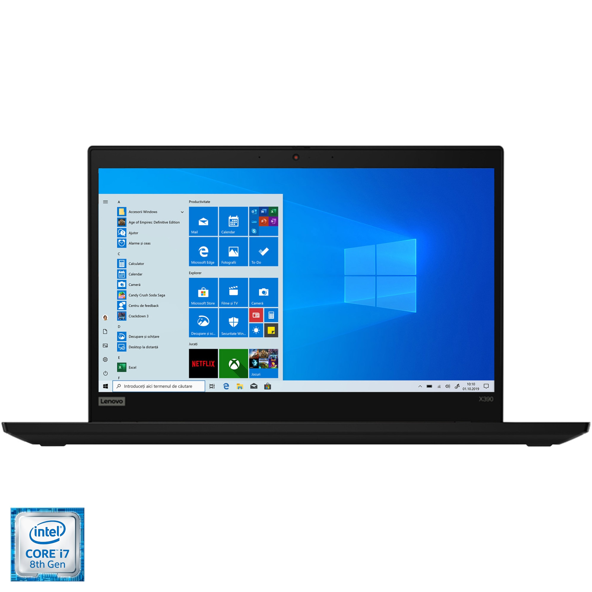 "Fotografie Laptop ultraportabil ThinkPad X390 cu procesor Intel® Core™ i7-8565U pana la 4.60 GHz, 13.3"", Full HD, 16GB, 512GB SSD, Intel UHD Graphics, Windows 10 Pro, Black"