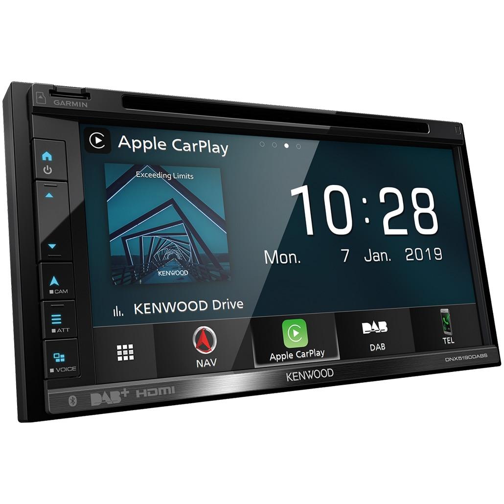 "Fotografie Sistem multimedia cu navigatie 2 DIN Kenwood, DAB+, Ecran 6.8"", DVD/CD, Navigatie Garmin, Compatibil Apple CarPlay si Android Auto, Bluetooth, Conectare permanenta 2 telefoane, USB Dual 1.5A, Compatibil Alexa, Spotify, Compatibil camera marsarier"