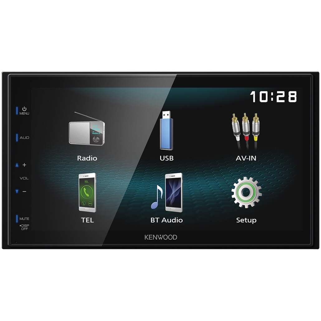 "Fotografie Sistem multimedia 2 DIN Kenwood DMX-120BT, Ecran 6.8"",Bluetooth, Conectare permanenta 2 telefoane, USB 1.0A, Mirorring pentru Android, Compatibil camera marsarier, Dimensiuni reduse"