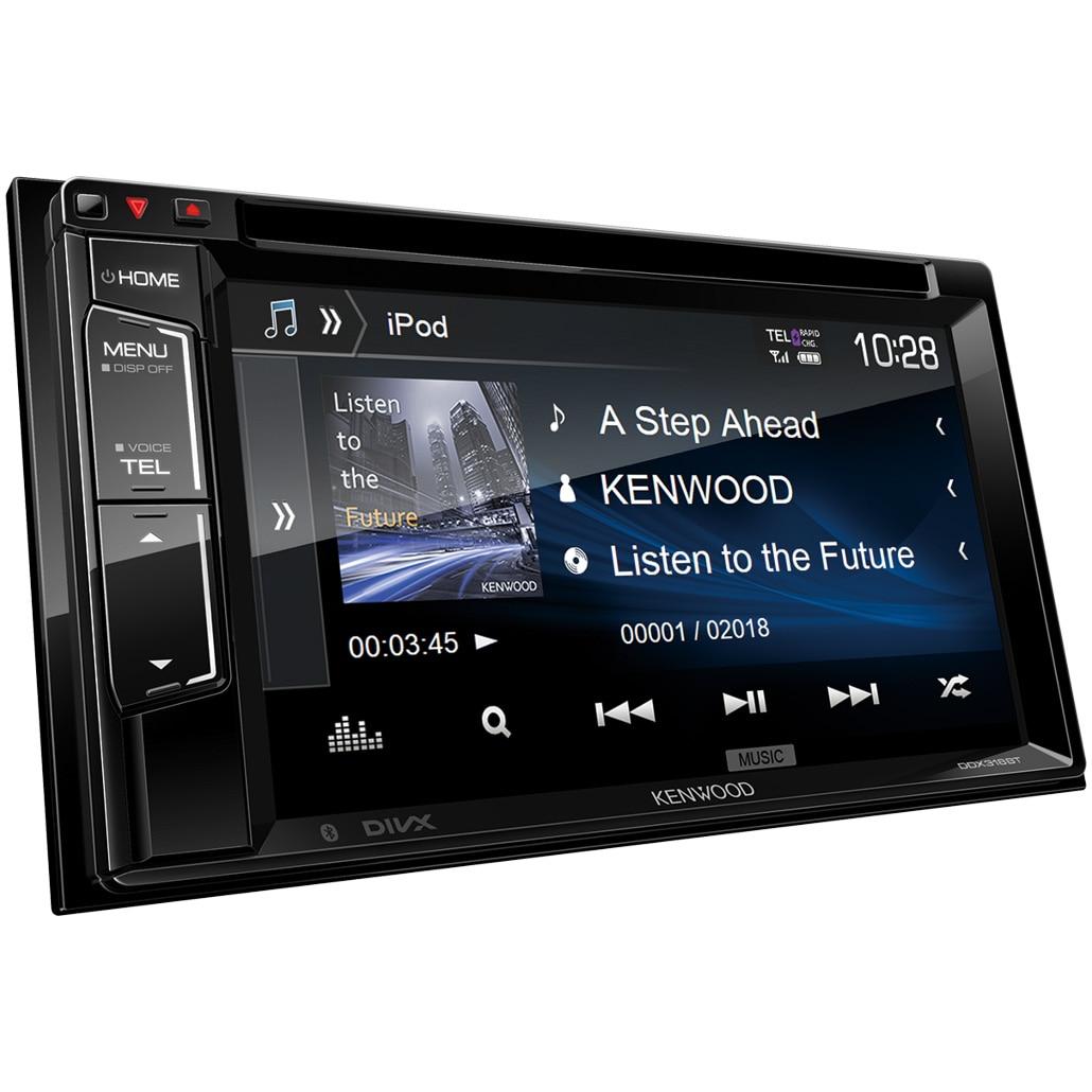 "Fotografie Sistem multimedia 2 DIN Kenwood, Ecran 6.8"", DVD/CD, Bluetooth, Conectare permanenta 2 telefoane, USB 1.0A, Mirorring pentru Android, Compatibil camera marsarier, Dimensiuni reduse"