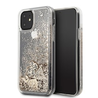 Твърд Гръб Guess Liquid Glitter Heart Case iPhone 11, Златист
